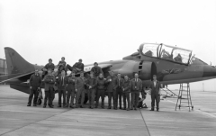 1972_jm_Some of 4 Sqns Lineys Pose by Harrier T2 XW269 M